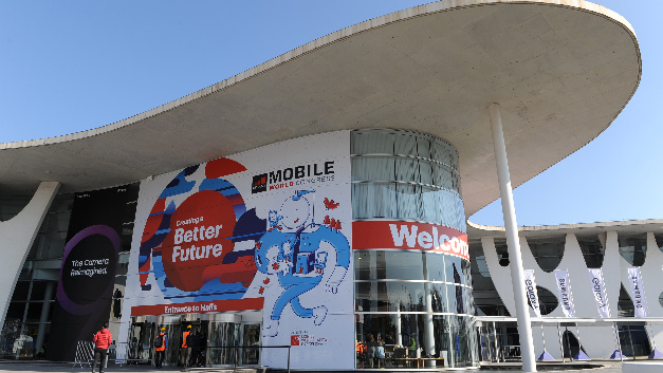 Der Eingang der Mobilfunk-Messe Mobile World Congress.