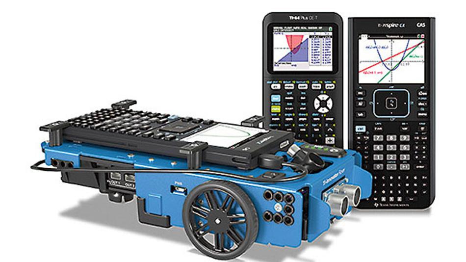 Bild 2. Der Rover von Texas Instruments verfügt über zwei unabhängig kontrollierbare Motoren. Sensoren berechnen den Abstand zu Hindernissen und zählen die Drehzahl.