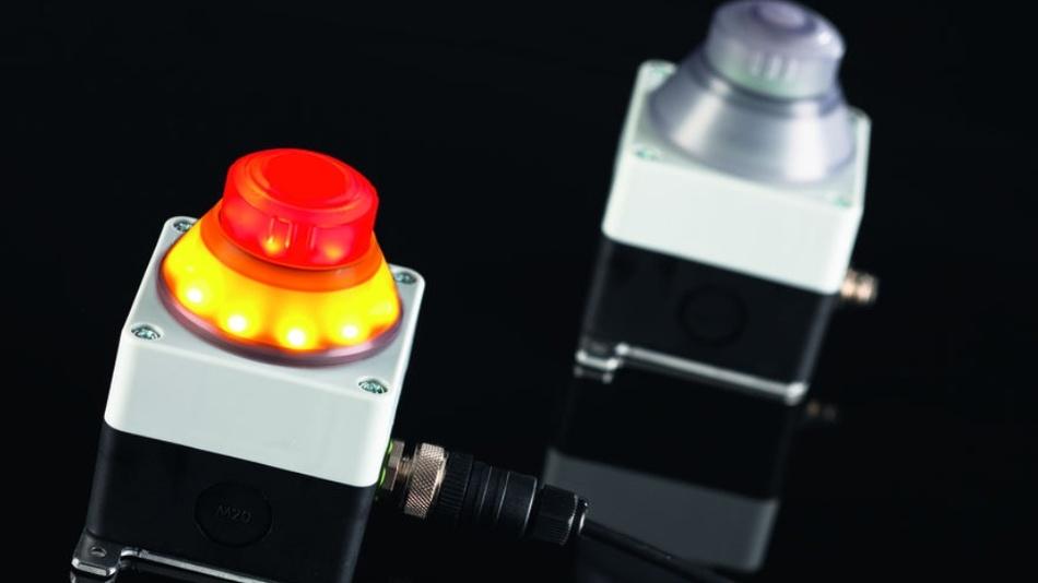 Bild 2: Fehlt die Verbindung zum Not-Halt- Taster, ist der Pilzknopf unbeleuchtet und damit grau bzw. transparent und informiert über die Inaktivität der Taste.