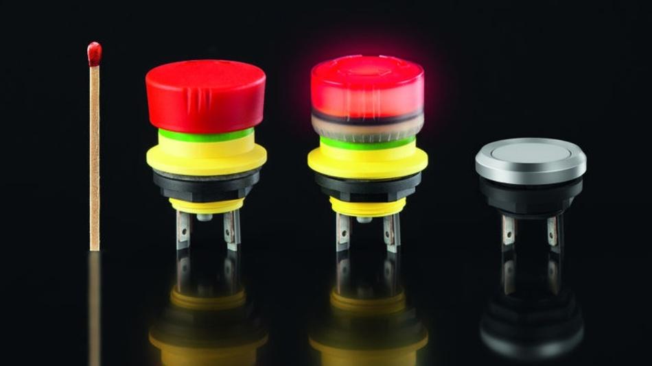 Bild 3: Aus der Baureihe mYnitron für mobile Handterminals gibt es jetzt eine aktiv leuch-tende Not-Halt-Taste mit 16,2mm Einbaudurchmesser.