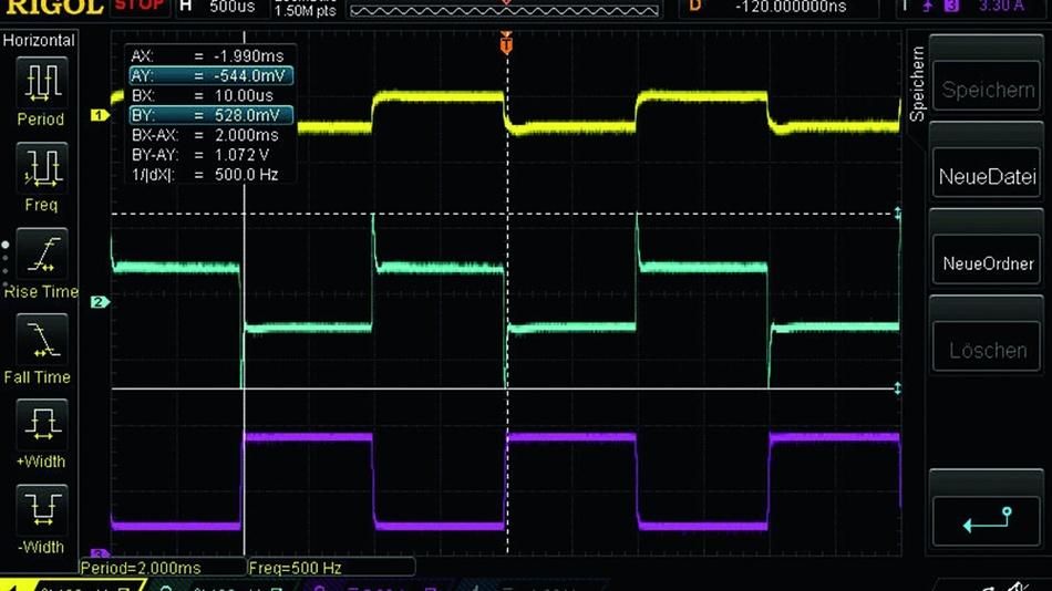 Bild 3: Lastwechsel am Netzteil (magenta: Strom, gelb: Spannung direkt an den Klemmen, blau: Spannung am Ende der 1m langen Lastleitung).