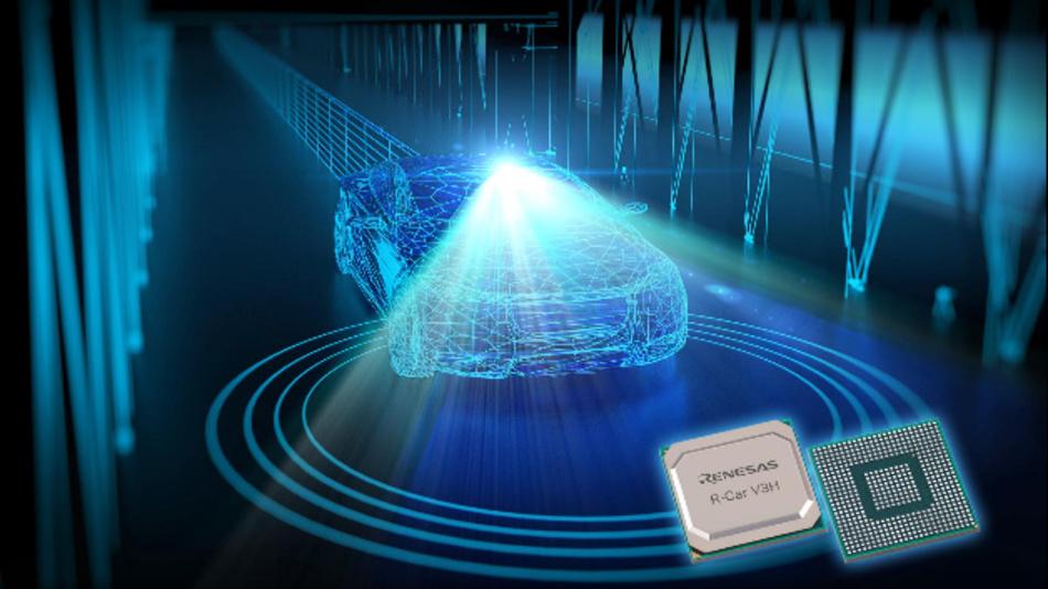 Renesas präsentiert den System-On-Chip R-Car V3H für Fahrerassistenzsysteme.