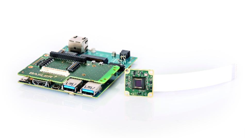 Ein BCON-for-MIPI-Kameramodul der Serie »dart« von Basler mit einem DragonBoard und einem 96boards.org-kompatiblen Mezzanine-Board.