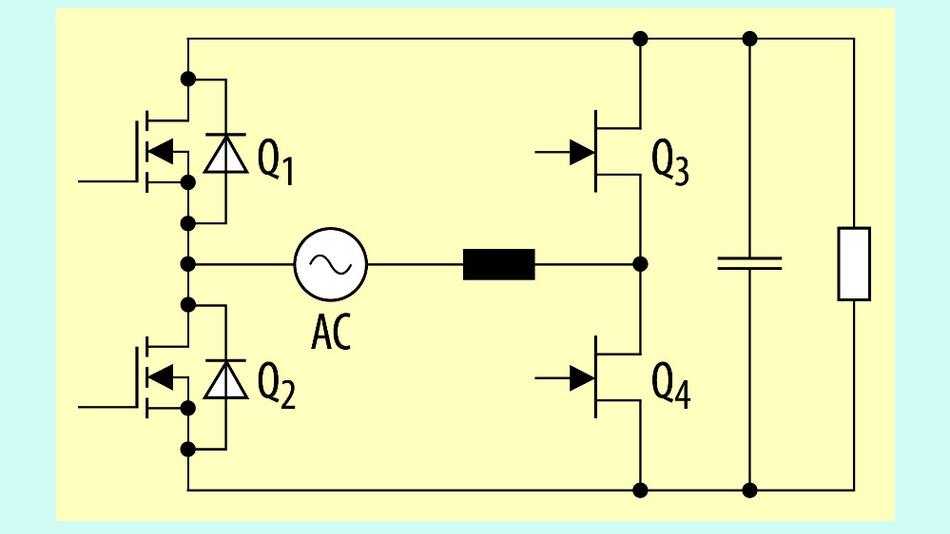 Bild 1. Prinzip einer Totem-Pole-PFC-Schaltung.