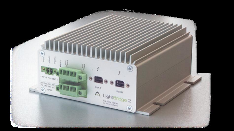 In einem industrietauglichen Gehäuse ist das Bildaufnahme- und -verarbeitungsgerät »LightBridge 2 VCL« von Silicon Software untergebracht.