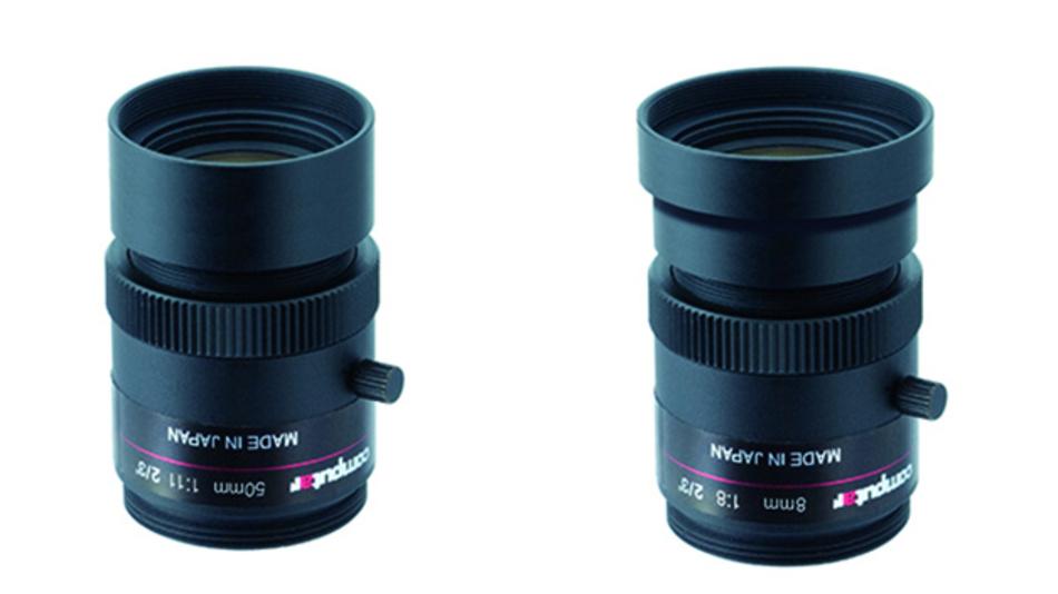 Die Objektivserie MPW2-R ist mit Brennweiten zu 8 mm (rechts), 12 mm, 16 mm, 25 mm, 35 mm und 50 mm (links) erhältlich.