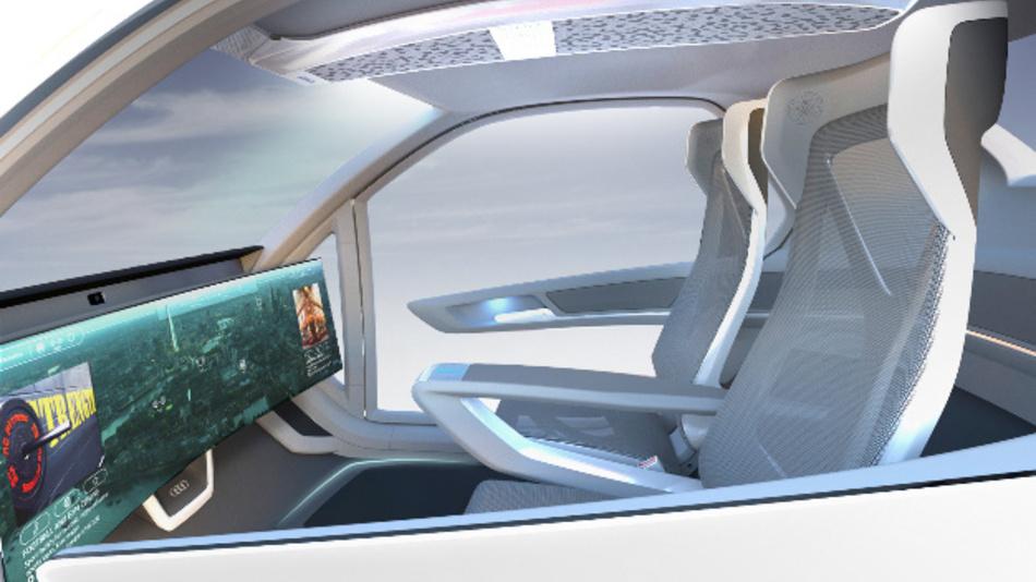 Der neu gestaltete Innenraum der zweisitzigen Kabine des Konzepts »Pop.Up Next«.