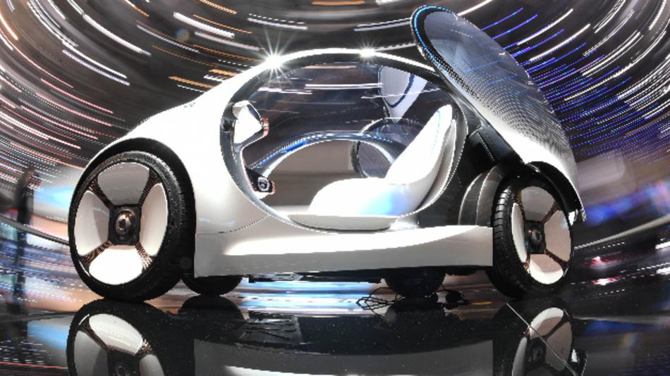 Auf dem Genfer Auto Salon 2018 wird der Smart Vision EQ fortwo präsentiert – eine elektrische autonom fahrende Studie.