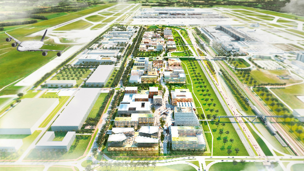 So könnte der LabCampus im Endausbau aussehen: In vier Quartieren wird auf einer Fläche von 500.000 Quadratmeter Raum für Innovationen geschaffen. Das erste Quartier wird im Westen des Geländes realisiert und auf ca. 120.000 Quadratmeter Fläche Platz für ca. 5.000 Arbeitsplätze bieten. Erste Gebäude können in etwas mehr als zwei Jahren bezogen werden.