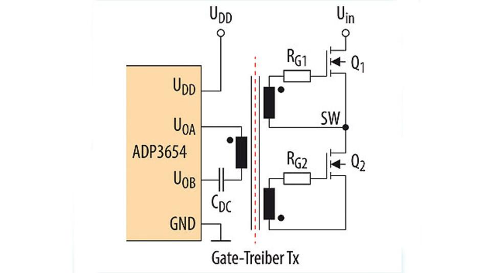 Bild 2. Double-Ended-Gate-Treiber-Transformator für Halbbrückentopologien. Verwendet wurde der Treiber ADP3654