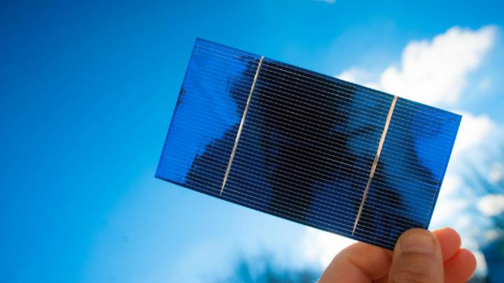 Kristalline Solarzelle mit 26,1 % Wirkungsgrad.