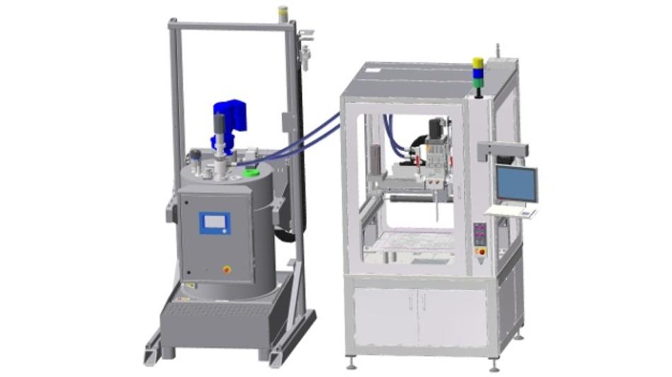 Die neue Variante der Fassrührstation von Scheugenpflug erlaubt eine direkte Förderung des Vergussmaterials zum Dosierer. Dadurch sparen Anwender Stellfläche, Zeit und Kosten.