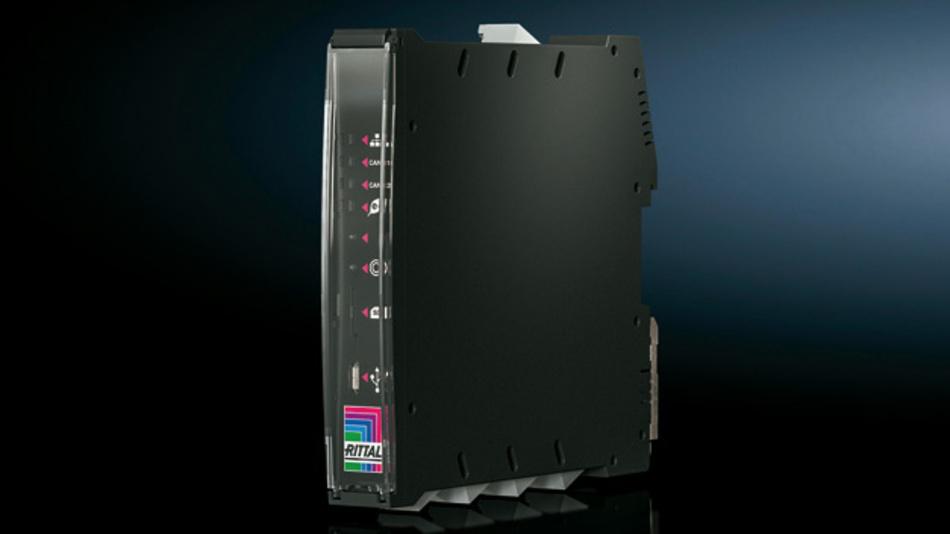 as IoT-Interface von Rittal wird entweder auf einer  Hutschiene oder direkt am Kühlgerät bzw. Chiller  befestigt.