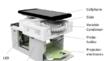 3D CAD-Zeichnung des Mikroskopaufbaus mit Smartphone