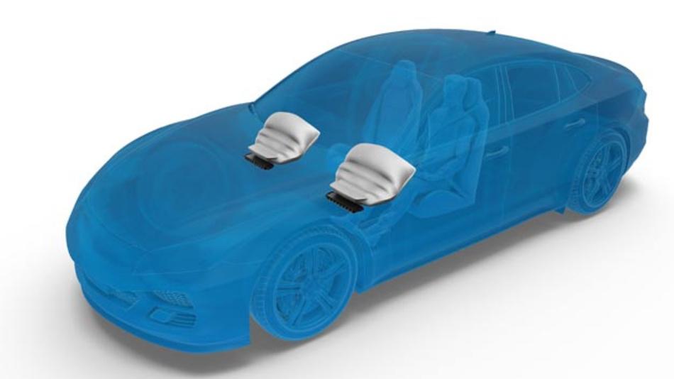 ZF hat einen neuen Airbag mit Gewebegehäuse entwickelt, der bis zu 30 Prozent leichter als herkömmliche Knie-Airbags mit Metallgehäuse ist.