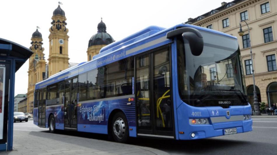 Einer der E-Busse von EBUSCO im Testbetrieb bei der MVG in München.