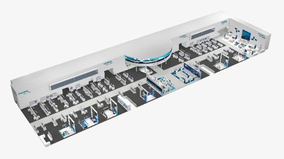 Der 3.500 m² große Messestand von Siemens demonstriert anhand konkreter Beispiele, wie digitale Unternehmen funktionieren können.