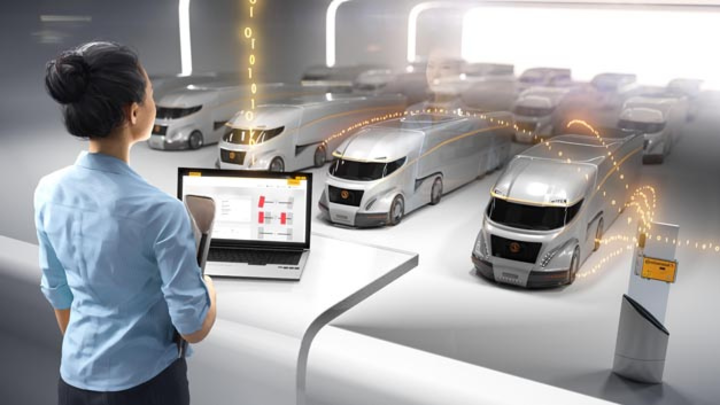 Das vernetzte Lkw-Depot: Nutzfahrzeugreifen von Continental übertragen Daten dank Vodafone im Internet der Dinge.