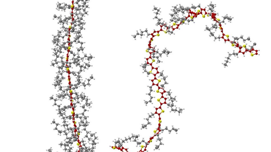 Links ein Polymer mit gestrecktem Rückgrat (rot-gelb). Die langen Seitenarme (grau) der molekularen Bausteine bilden ein Gerüst, das die Streckung stabilisiert. Rechts ein Polymer mit gekrümmtem Rückgrat