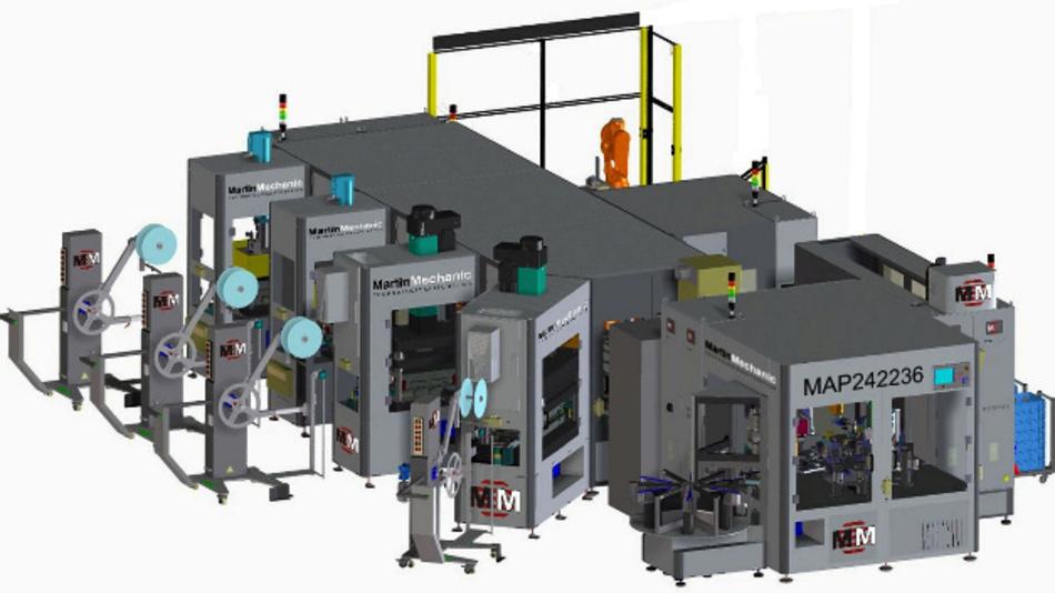 Neun Roboter sind in der neuen Arbeitszelle MAP242236 von MartinMechanic zum Umspritzen elektronischer Bauteile im Einsatz.