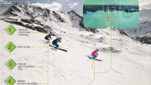 Die Daten der Sensoren senden die Skier an einen Bildschirm, wo sie visualisiert werden.