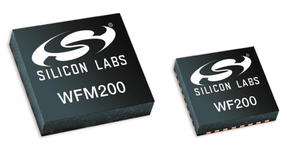 WLAN-Transceiver-IC WF200 und WLAN-Modul WFM200 für 2,4 GHz mit integrierter Antenne.