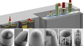 Mikrolinsen und Mikrospiegel lassen sich mit 3D-Nanodruck auf optischen Fasern und Mikrochips herstellen. Dies vereinfacht den Aufbau photonischer Systeme drastisch.