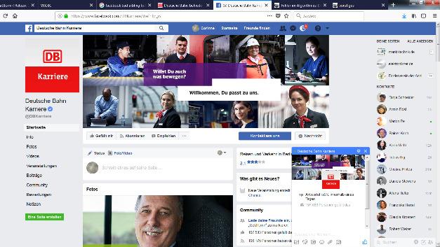 Der Karriere-Auftritt der Deutschen Bahn auf Facebook