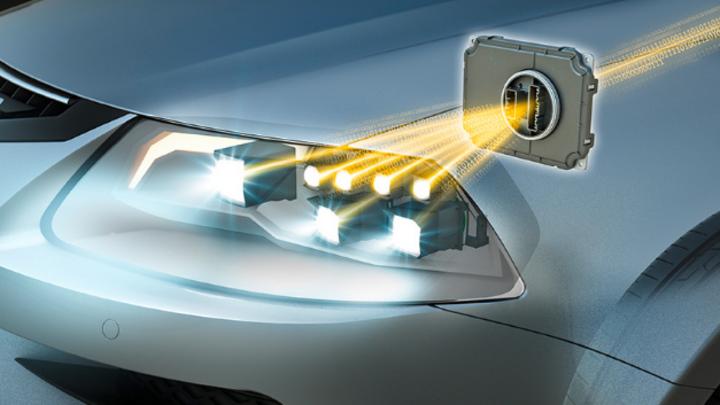 Frontscheinwerfer eines Fahrzeugs mit Steuergerät und Kommunikation