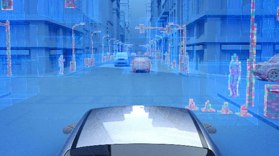 Die Kombination der virtuellen Sensorbilder der PreScan-Umgebung von Tass und Mentors DRS360-Plattform automatisiert die Entwicklung von Algorithmen für Sensor-Fusion und Datenverarbeitung.