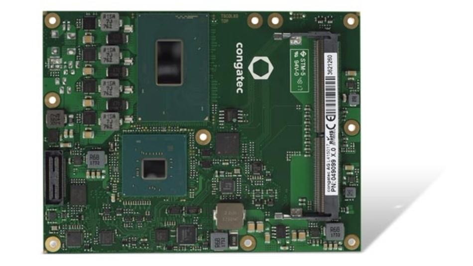 Congatec geht mit dem COM-Express-Modul conga-TS370 ins Rennen, das sich ebenfalls mit bis zu 32 GB Arbeitsspeicher bestücken lässt.