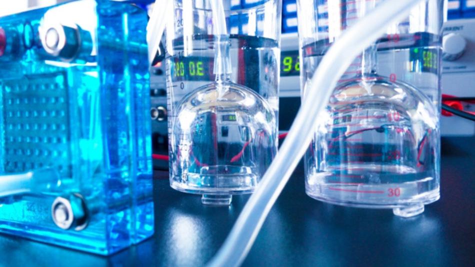Wasserstoff-Brennstoffzelle in einem Labor.