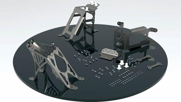Reduziert: Ein Bauteil statt 30 Einzelkomponenten. Kabelführungshalter für eine Kamera im Seitenleitwerk des A350