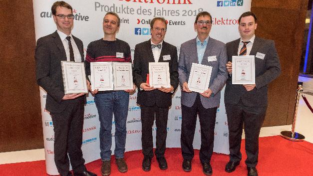 Von links nach rechts: Dr. Stefan Hain, Thomas Stephan, Dr. Richard Kölbl, Prof. Dr.-Ing. Kai Homeyer und Lukas Franzky wurden im Rahmen der Preisverleihung »Produkte des Jahres 2018« für ihre herausragenden Artikel geehrt.