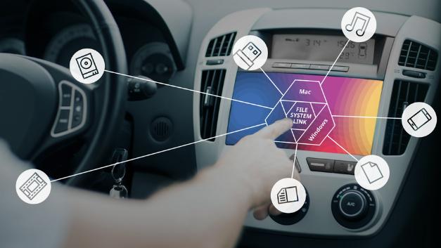 Paragon File System Link ermöglicht den direkten Zugriff auf physische Laufwerke über das In-Vehicle-Infotainment – auch auf nicht-kompatible Speicherpartitionen.