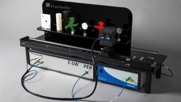 Terahertz-Messsystem T-Sweeper mit Laserquelle Finisar WaveSource im Demonstrationsaufbau zur Schichtdickenbestimmung.