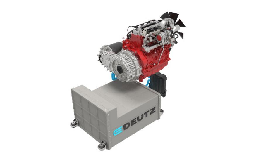 Visualisierung des Hybrid-Antriebs von Deutz, eine Kombination aus Diesel- und Elektromotor.