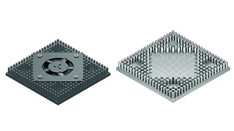 Bild 3. Die Bohrungen und Abmessungen für den Kühlkörper waren vorgegeben; a) zeigt die Lösung mit integrierten Lüfter, während b) den »nackten« Kühlkörper abbildet.
