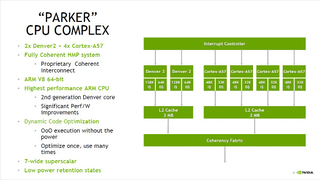 """The SoC implements 6 CPU-cores in 2 clustern: 4 Cortex-A57 are licenced by arm, while 2 """"Denver"""" cores are designed by Nvidia inhouse."""