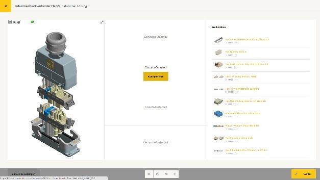 Mit dem 3D-Modell im neuen Han-Konfigurator hat der Anwender jederzeit den nötigen Überblick über den Stand der Komponenten-Auswahl.
