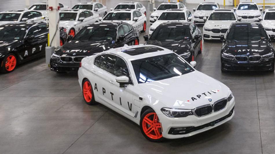 Die autonome Fahrzeugflotte von Aptiv und Lyft auf Basis von Fahrzeugen des Automobilherstellers BMW.