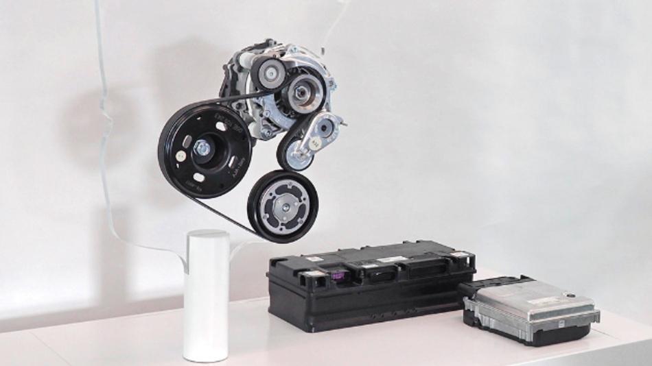 Das Hybrid-System des Golf 8: 48V-Riemen-Startergenerator, 48V-Batterie und DC/DC-Wandler.