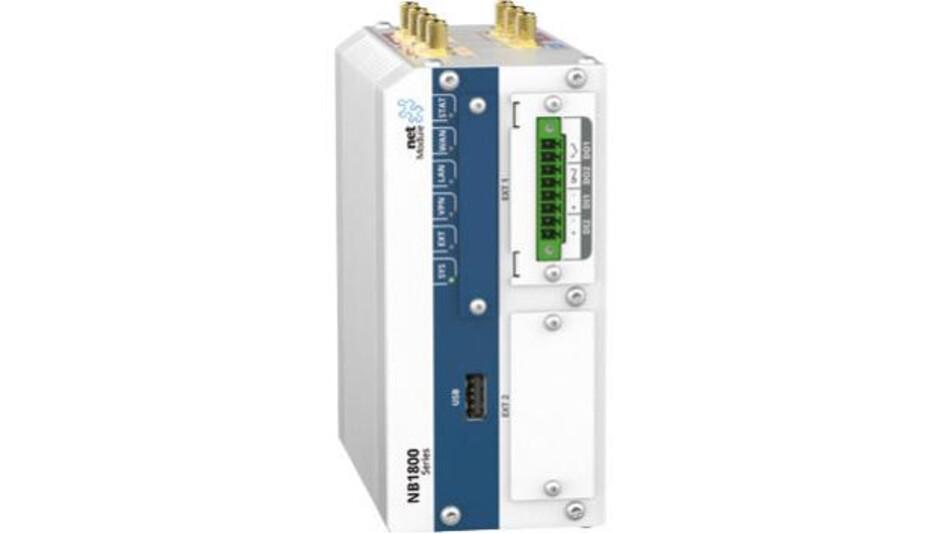 Mit einer 1,3-GHz-Dualcore-CPU ist der Industrial Routerm NB1800 von NetModule ausgestattet.