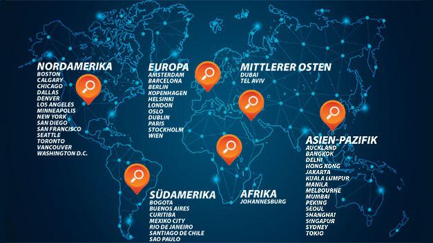 Diese 50 Städte hat Frost & Sullivan im Rahmen seiner Smart-City-Studie bewertet.