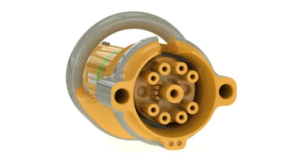 Ansicht der Steckverbinder-Kontakte für die Hochleistungsladung von Chargepoint.
