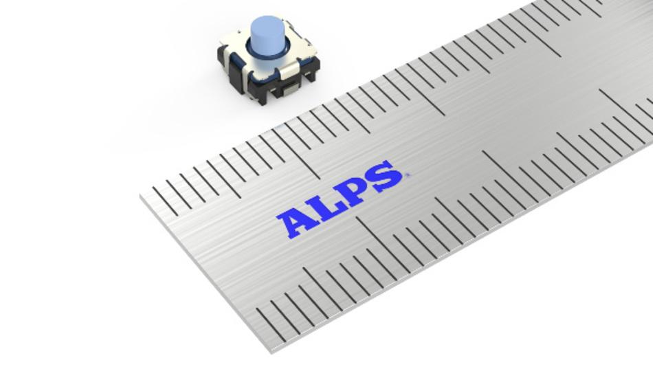 Zum Portfolio von Alps zählen zum Beispiel die kompakten Mittelhub-TACT-Schalter der Serie SKTQ, die für Automobilanwendungen vorgesehen sind.
