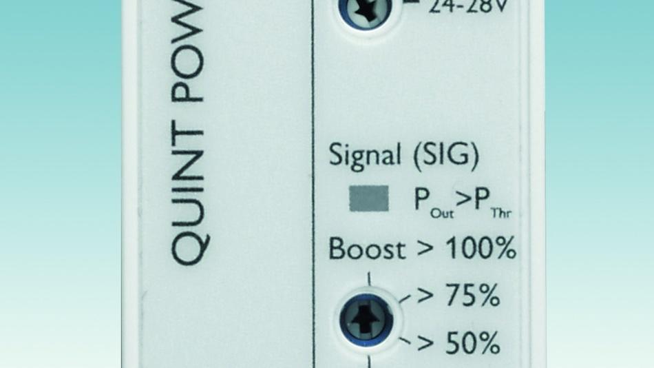 Bild 1: Signalisierung per Drehwahlschalter: Schwellen der Ausgangsleistung (PThr) oder die Ausgangsspannung (DCOK) können bei den Stromversorgungen QuintPower von Phoenix Contact überwacht werden.