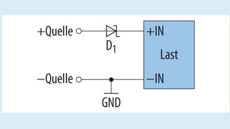 Bild 1. Einfacher Verpolungsschutz mit einer  Diode.