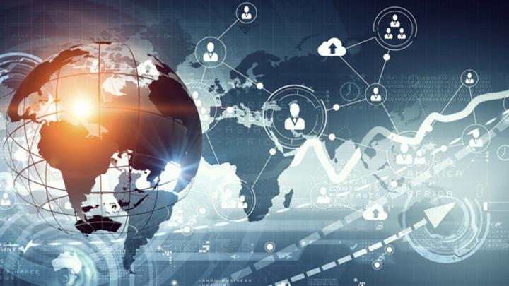 Weltkarte, Globus, IoT und Wachstumskurven.