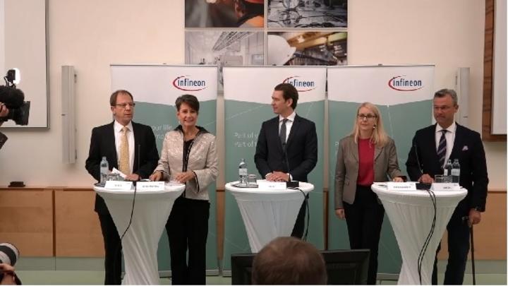 Infineons CEO Dr. Reinhard Ploss (links) erläutert den Bau der neuen Chipfabrik in Villach. In der Mitte Österreichs Bundeskanzler Sebastian Kurz.